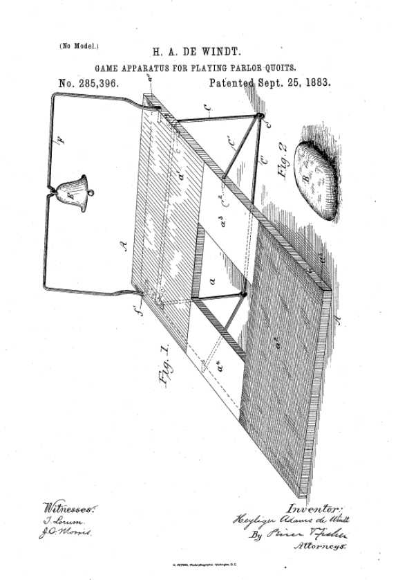 Image from patent on Parlor Quoits game - a precursor to cornhole