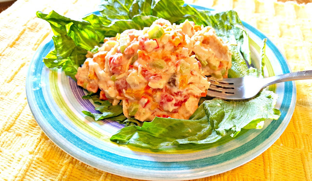 Quick and Healthy Chicken Salad.  With just a few tricks, you can have this salad made and ready to share in 15 minutes, and around here that's a very good meal!