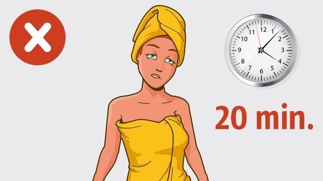 Không nên tắm quá 20 phút