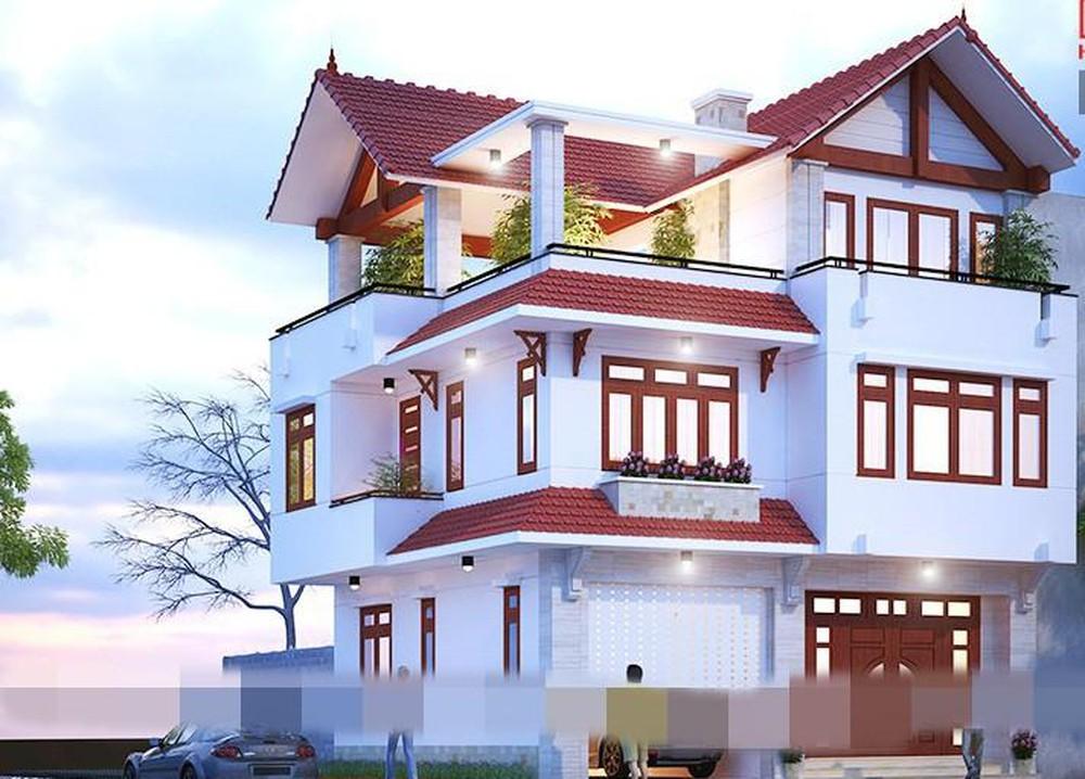 Nhà 3 tầng với kiểu dáng biệt thự