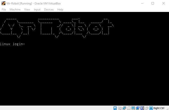 Virtual hacking lab. Mr-Robot VM login prompt. Source: nudesystems.com