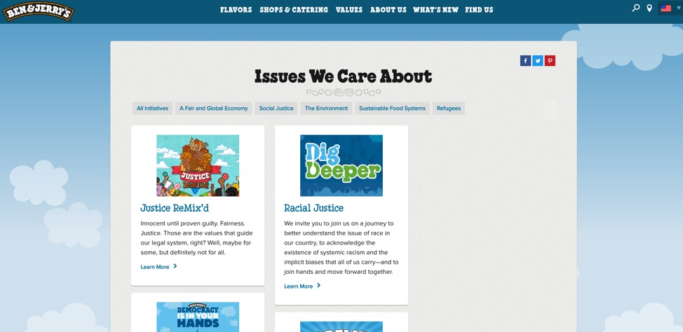 Trang Landing Page hiệu quả của Ben & Jerry's