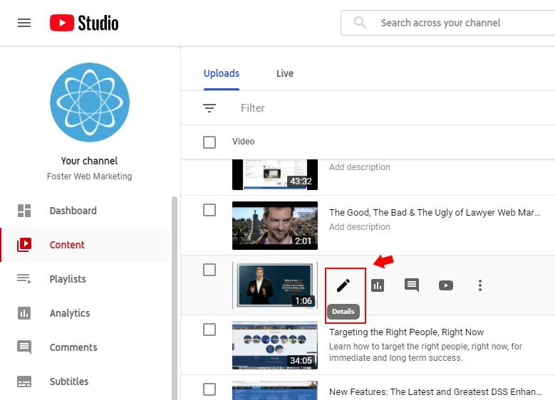 Choose the YouTube video to add annotations
