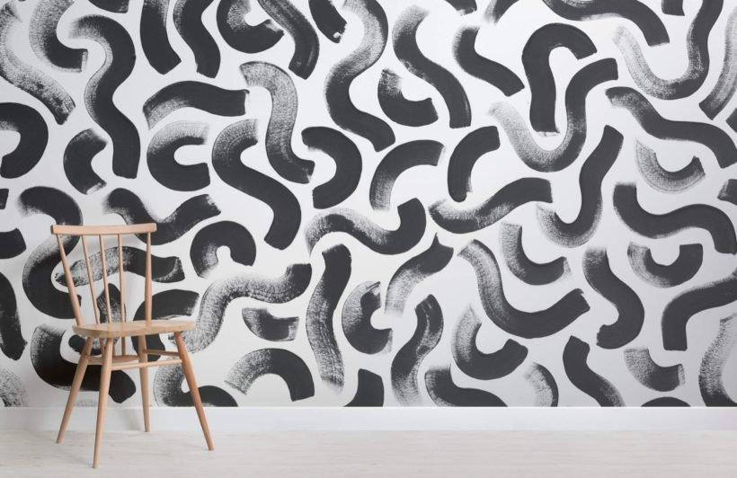 Black Paint Brush Strokes Abstract Wallpaper Mural