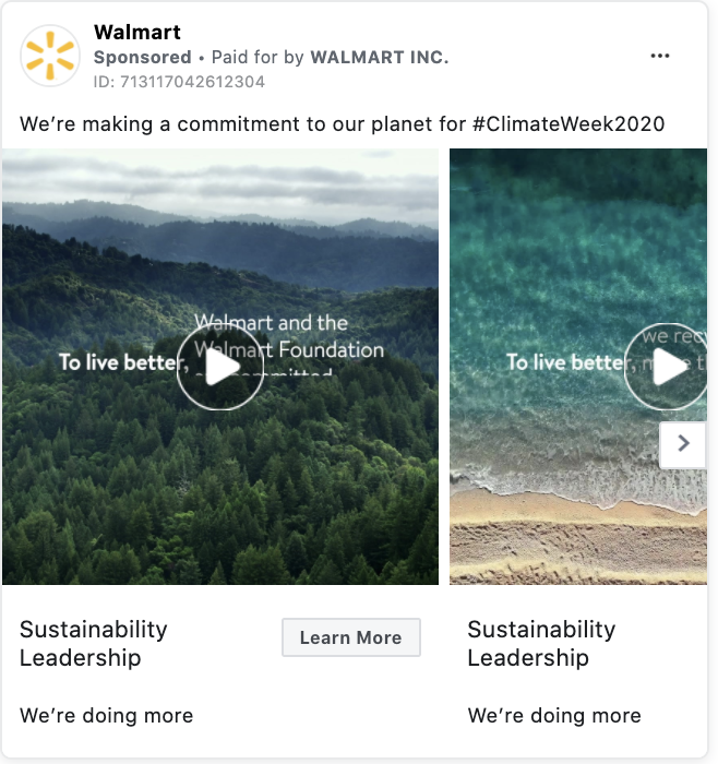 Walmart Facebook ad call to action example
