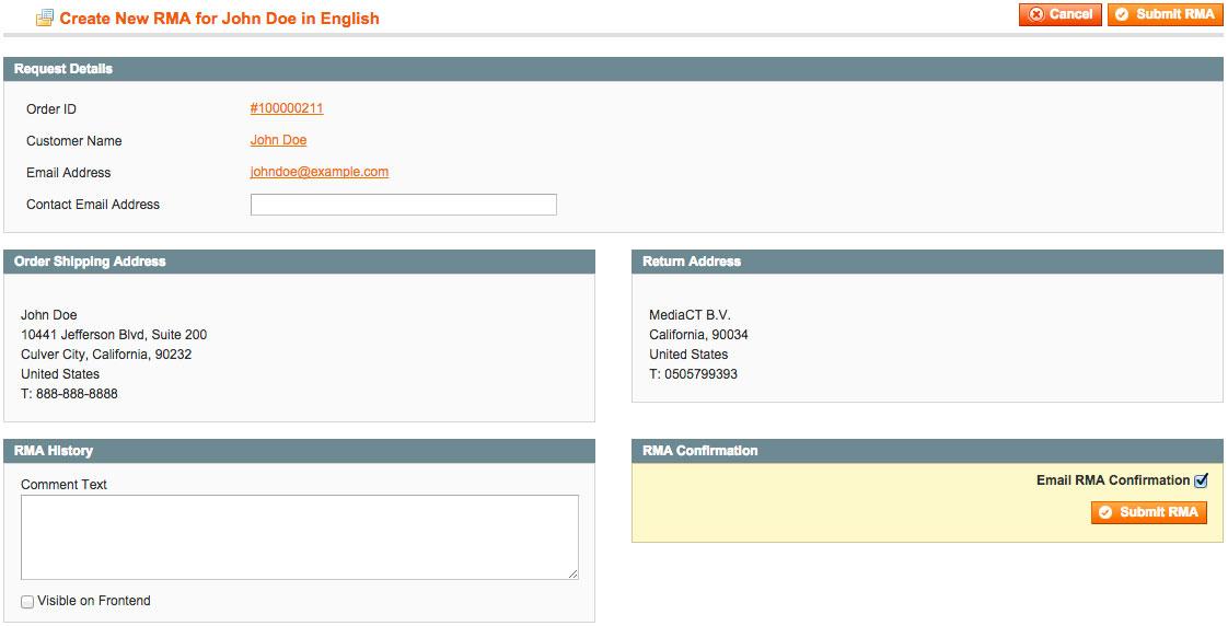 RMA aanmaken in Magento admin