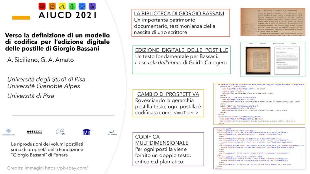 Angela Siciliano and Giovanni Alberto Amato - Verso la definizione di un modello di codifica per l'edizione digitale delle postille di Giorgio Bassani