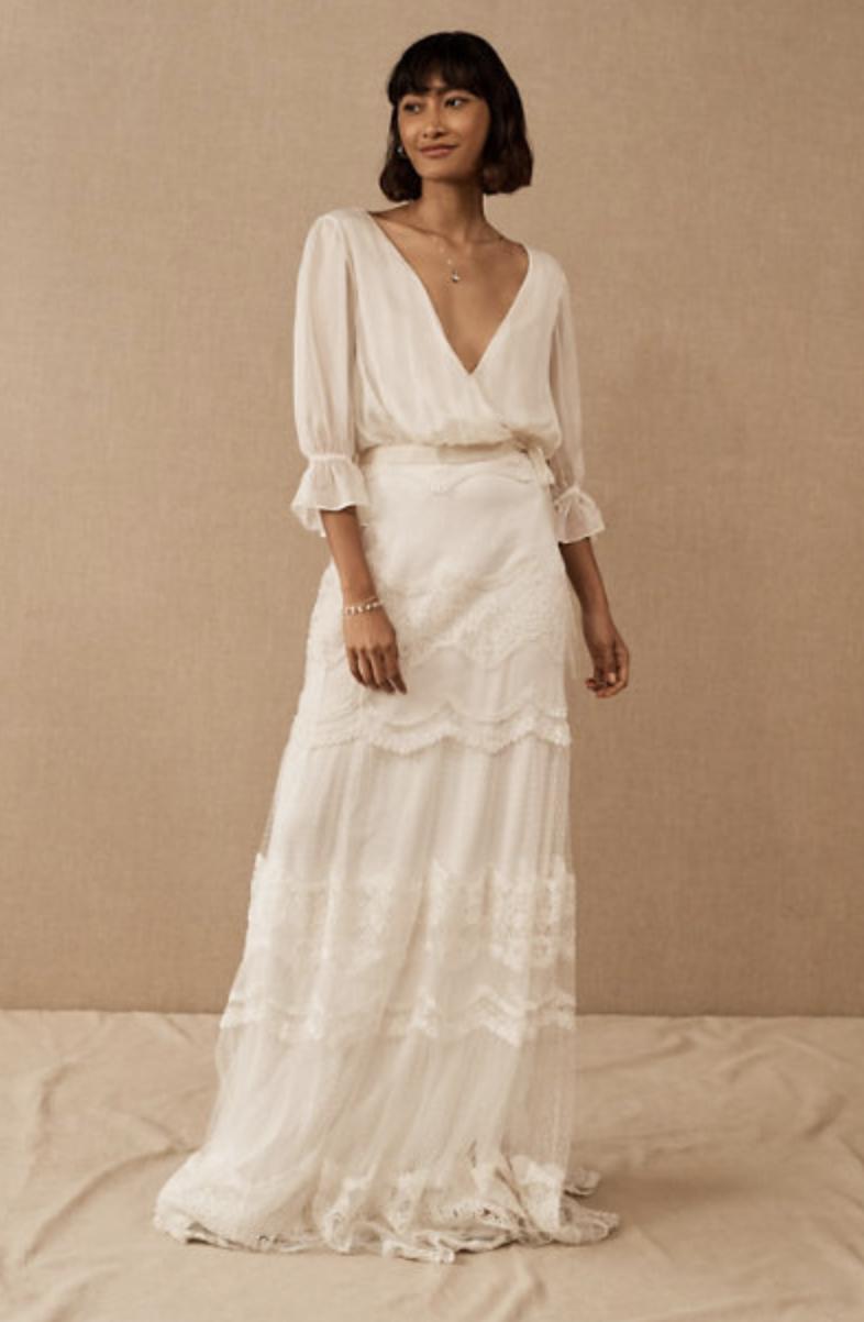 two piece silk wedding dress by BHLDN