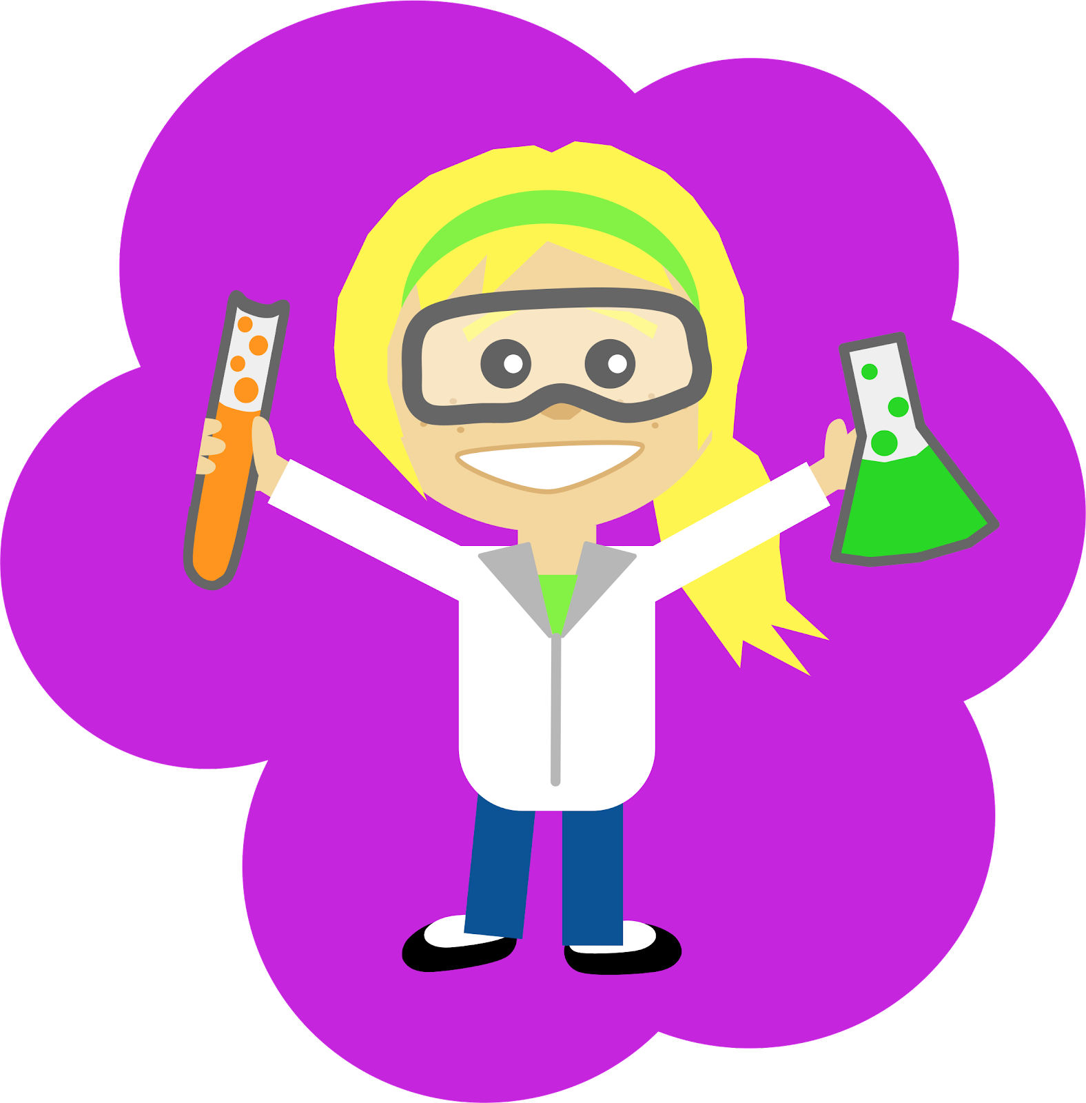 female student scientist holding a test tube and beaker