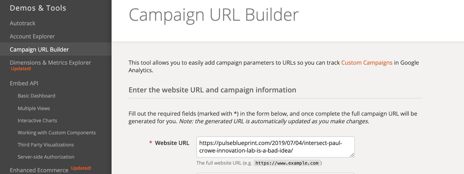 URL campaign builder is made by google dev tools