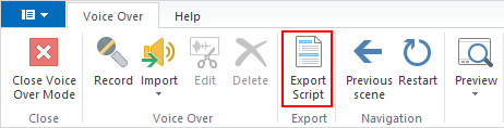 Export Script button on the Voice Over toolbar in TalkMaster.