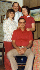 Mel and Red with the newlyweds, daughter Cal and her husband, Mike Stocks, in 1974