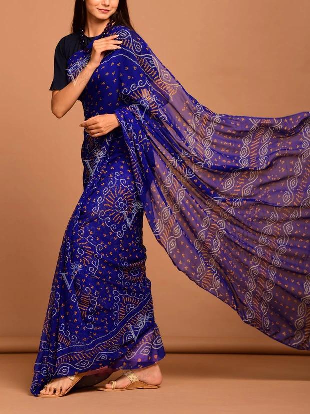 Vasansi Blue Georgette Bandhani Saree