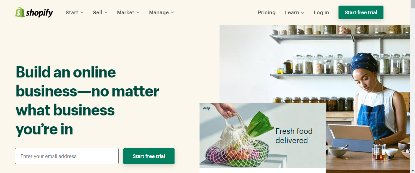 Shopify's landing page