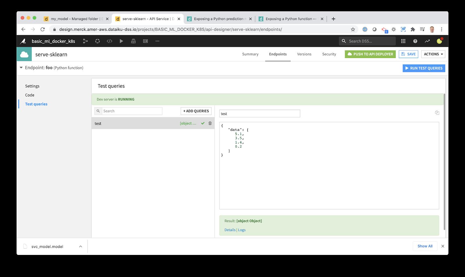 run test queries in Dataiku