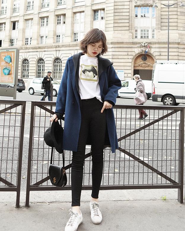 Phối Áo khoác dạ + skinny jeans