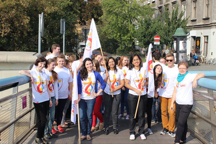 WYD's international volunteers during the filming of the WYD official song's video clip.Pictures from the preparations to World Youth Day Krakow 2016. From WYD website (krakow2016.com)