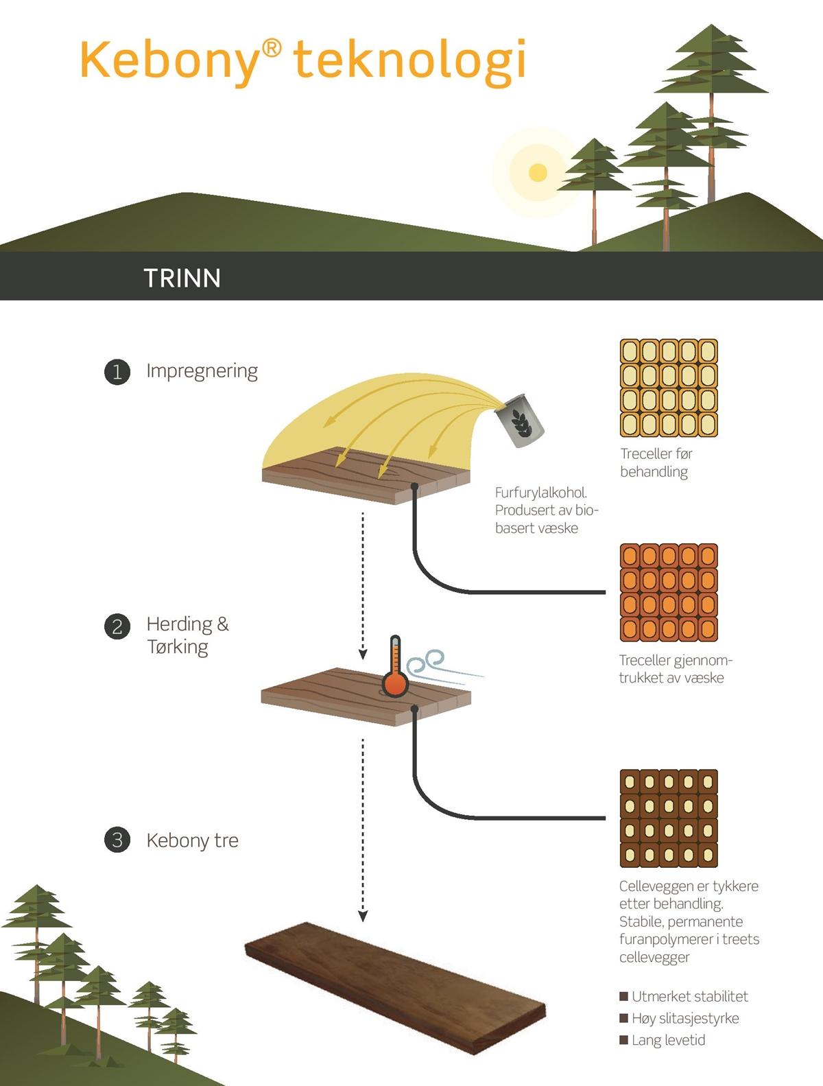 Kebony teknologi impregnering herding tørking treceller