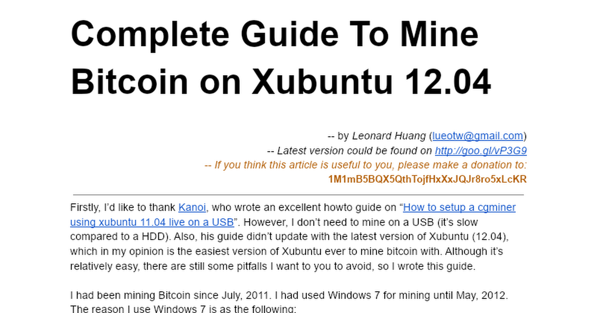 Complete Guide To Mine Bitcoin on Xubuntu 12 04 - Google Docs