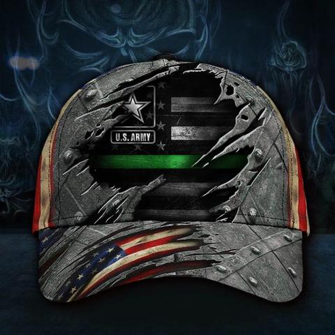U.S Army Thin Green Line Hat 3D Printed American Flag Vintage Hat Honor Military USAF