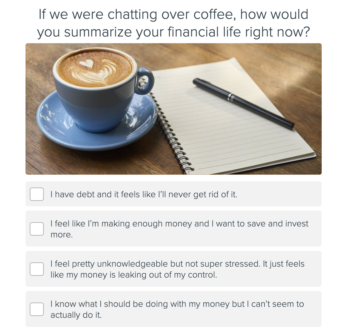 quiz question with cup of coffee