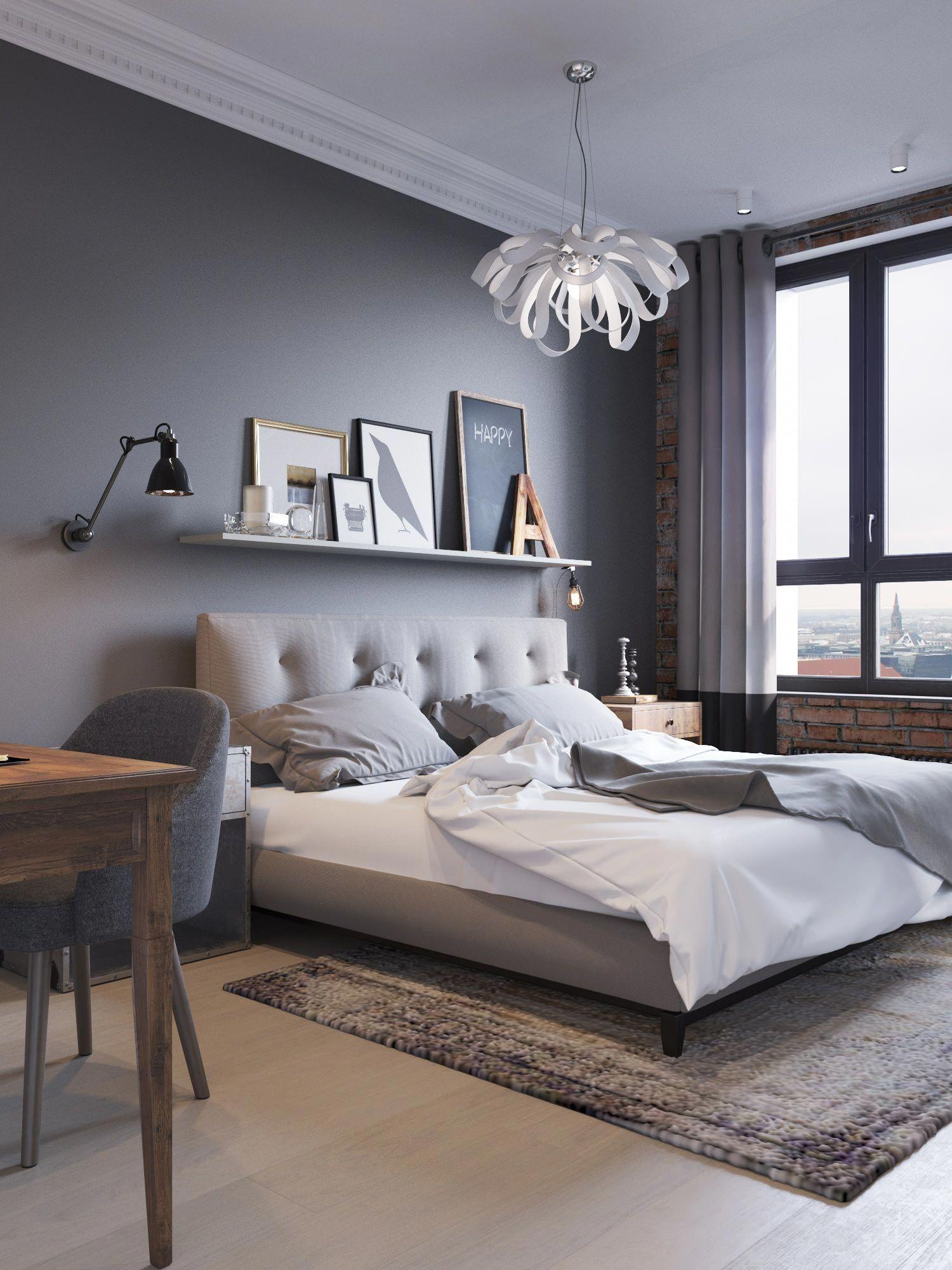Trang trí phòng ngủ tân cổ điển với tranh và đèn chùm