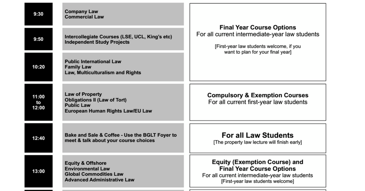 law course Here you'll find a listing of our 1st, 2nd, and 3rd year law classes and electives see a detailed explanation for each one.