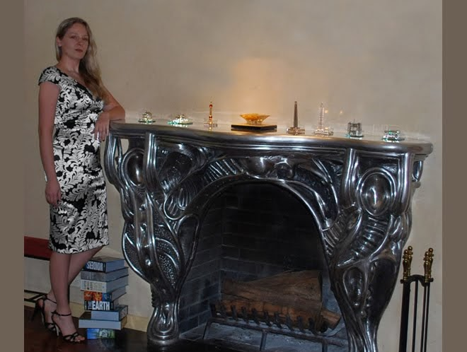 Art Nouveau fireplace mantel