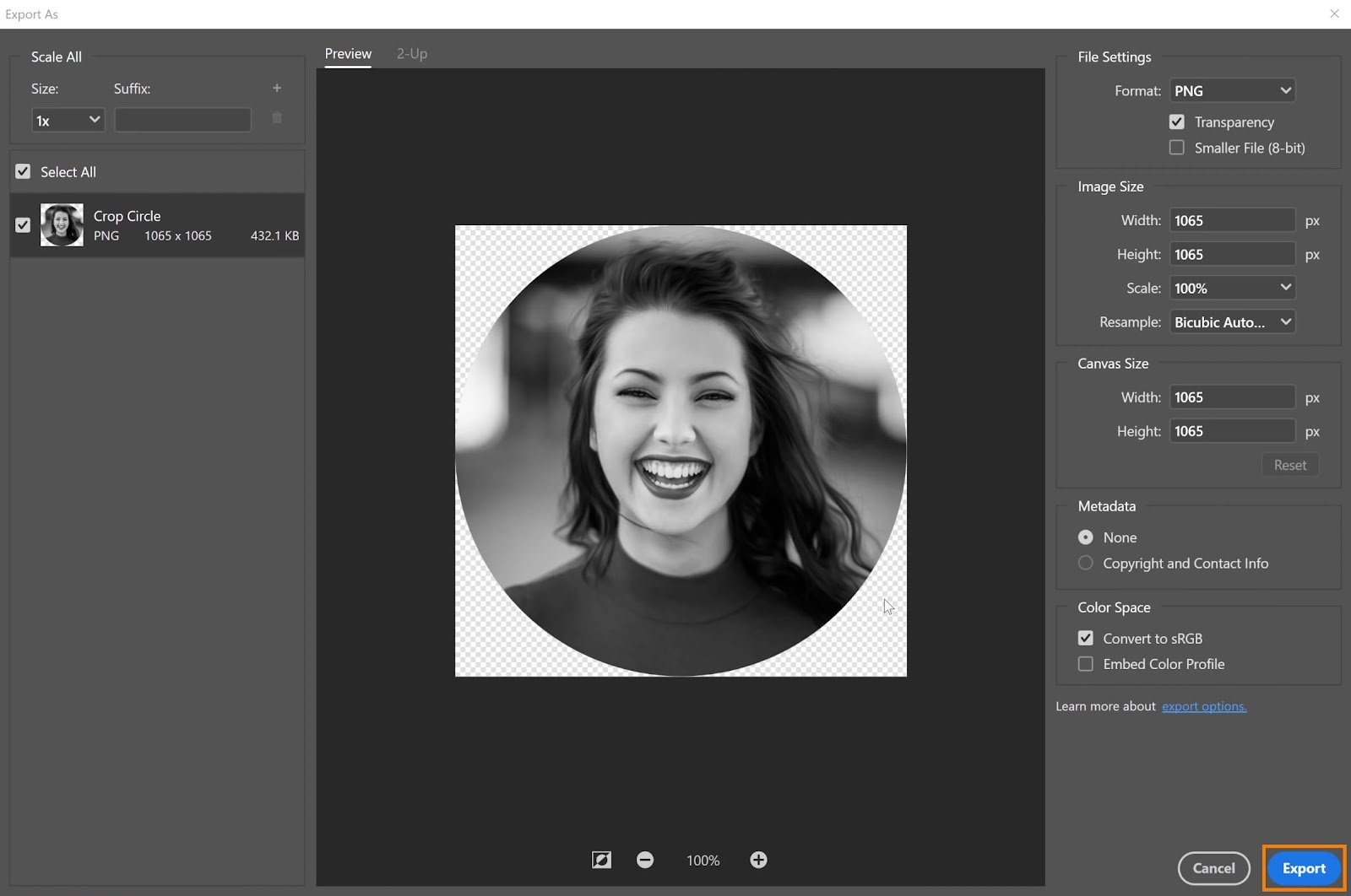 Click on the Export button - How to Crop in a Circle in Photoshop