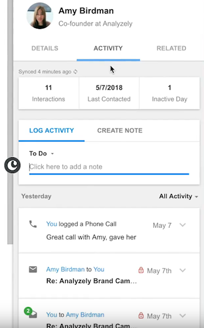 what a contact profile in a crm looks like