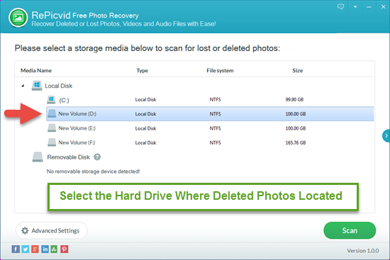 Select the Hard Drive Where You Deleted Photos