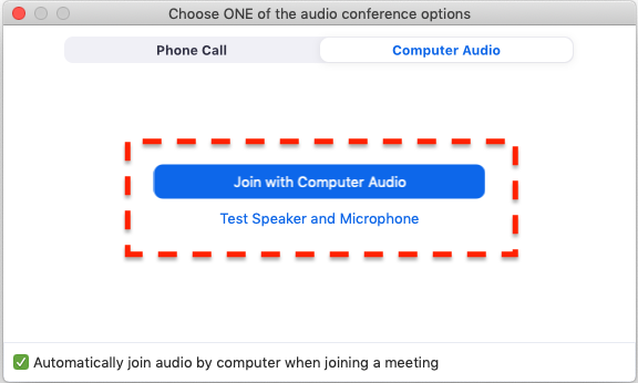 join with computer audio button highlighted