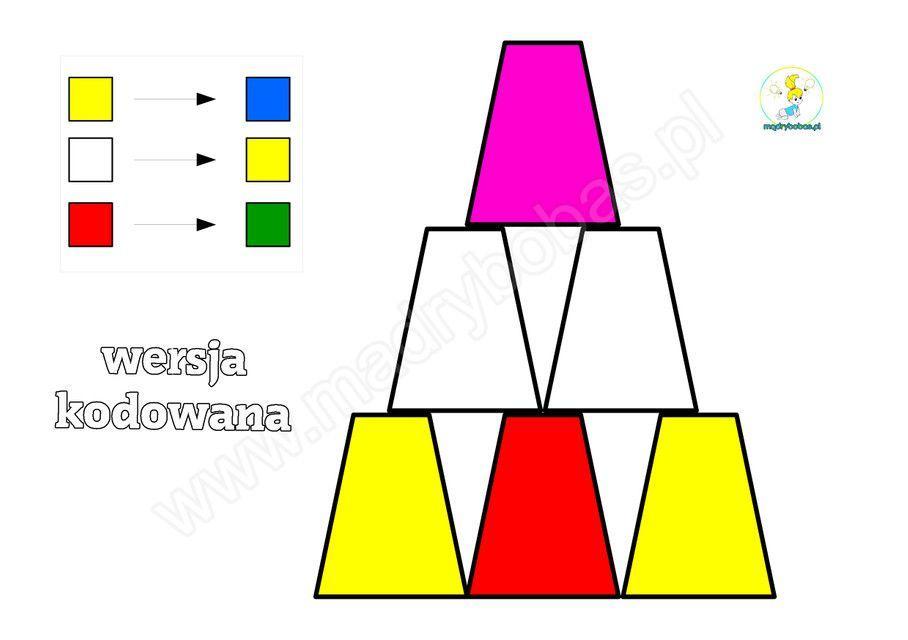 Kodowanie dla dzieci: Piramida z kubków PDF - karty pracy do druku ...