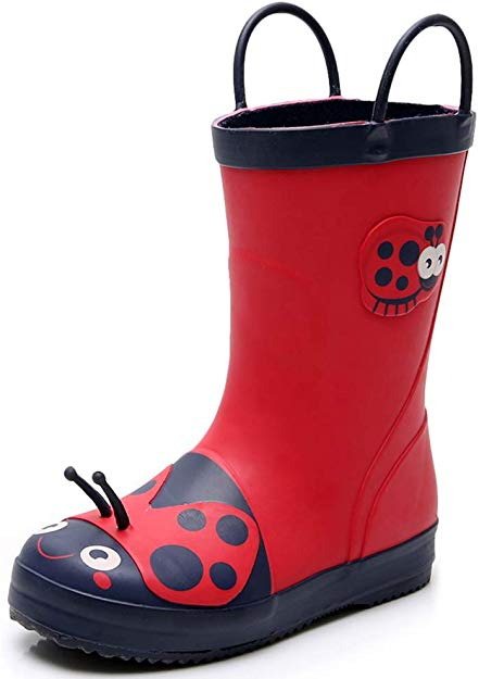 Kids Rain Boots for Toddler & Little Kids, Red Lady Bug Raining Shoes Lightweight Waterproof Boy & Girls Rubber Boots for Kids Age 1-6 with Easy-on Handles (Toddler 6M)