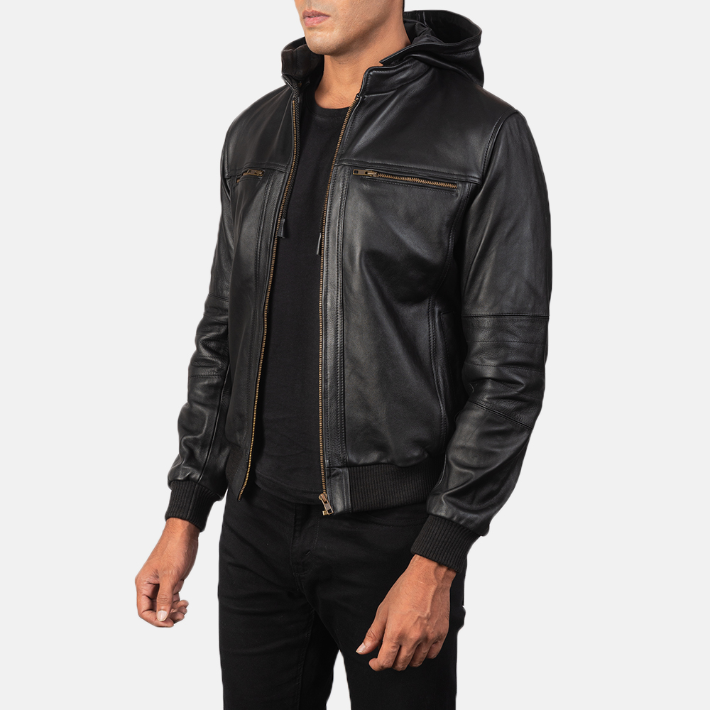 Hooded leather jacket outfit