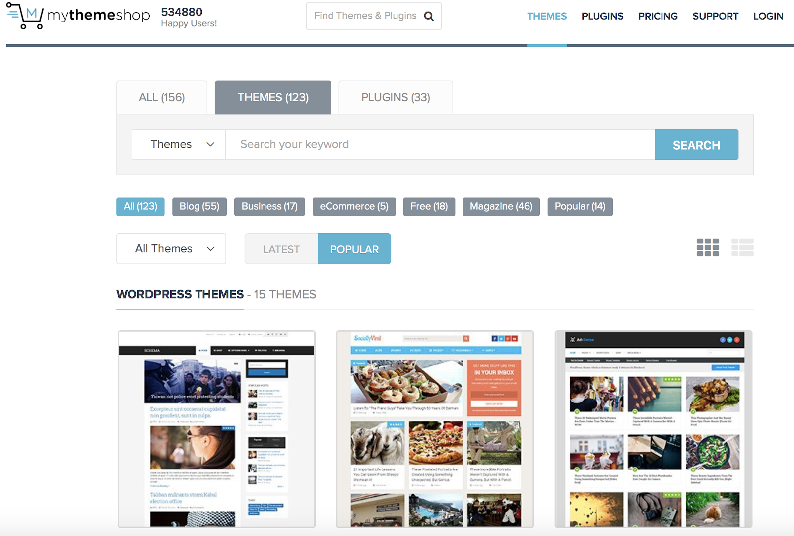 MyThemeShop has 123 WordPress themes.