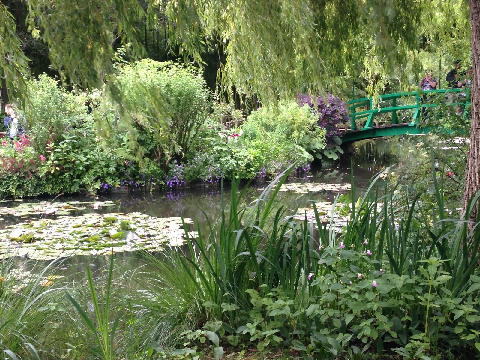 claude monet garden in giverny. Green wooden bridge with tourist on it, overlooking green pond surrounded by trees and bushes on a sunny day in france.