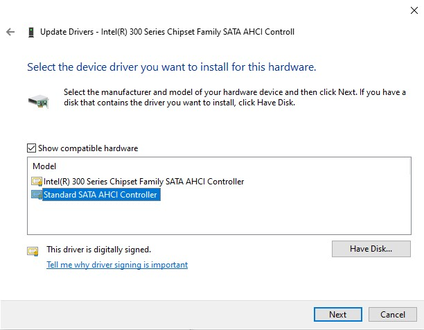 The Driver update device selection window