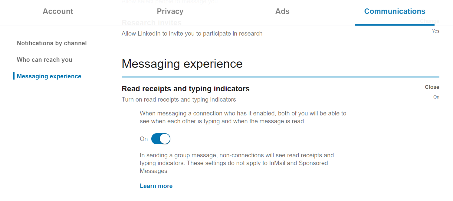 How to turn off read receipts in LinkedIn