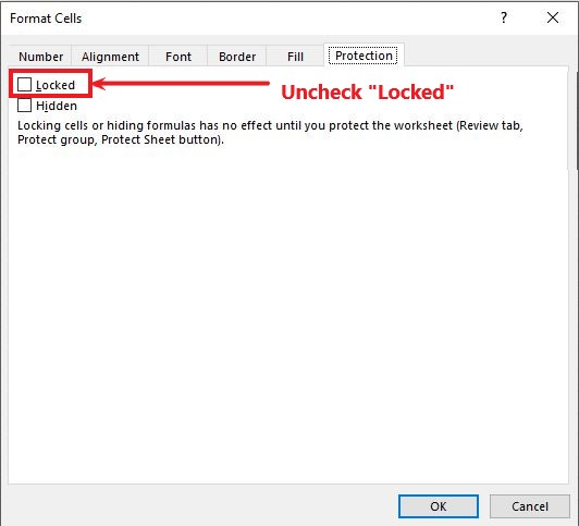Uncheck the Locked checkbox to ensure all the cells are unlocked