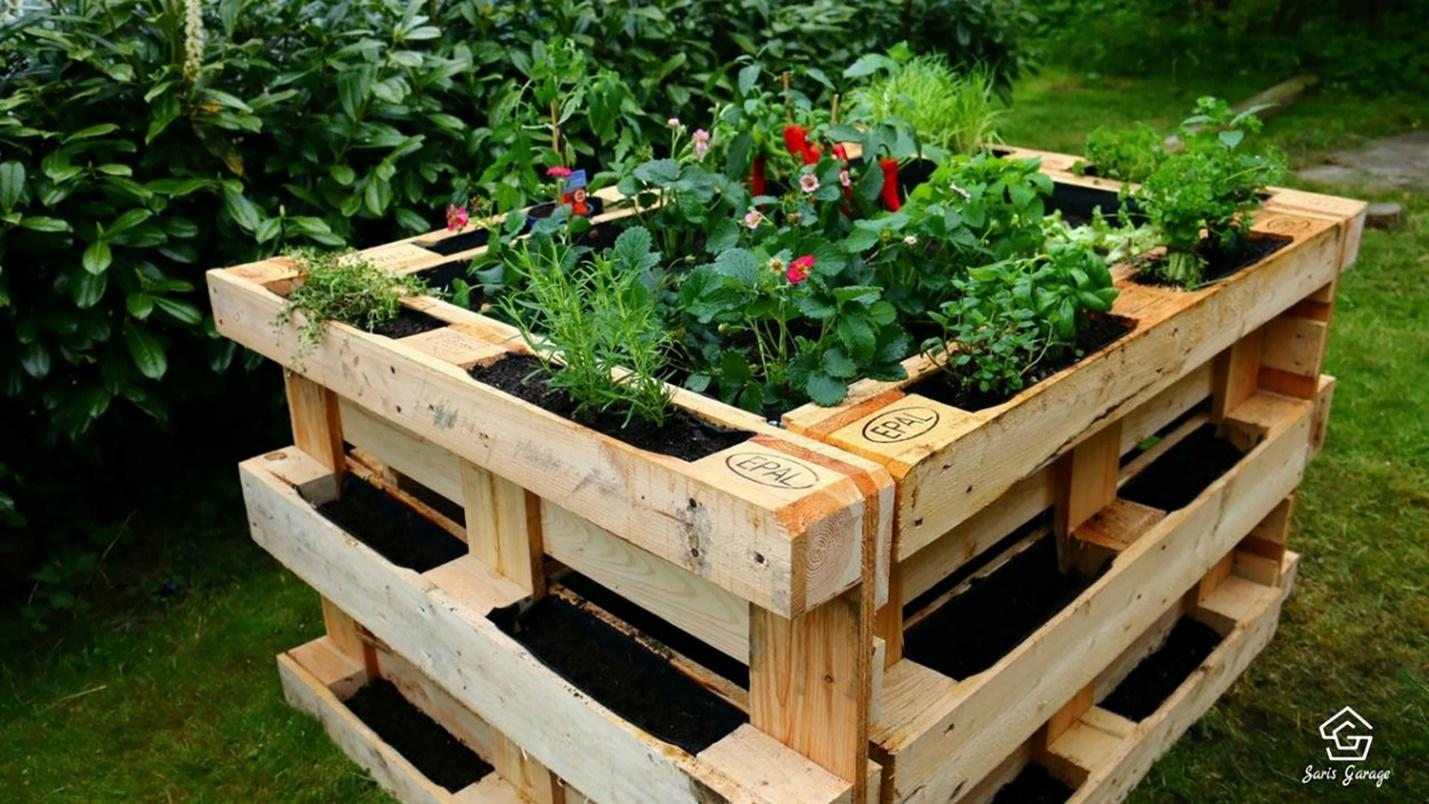 Old pallets turned into a raised flower and vegetable bed.