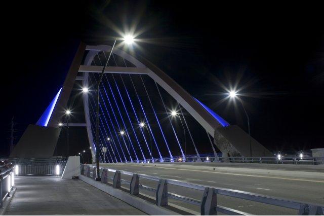 LED lights on a bridge.