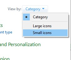 small or large icons