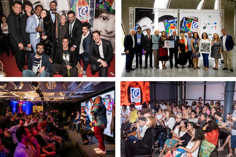Colagem de fotos mostra 4 diferentes locais onde o aplicativo foi lançado. Auditórios lotados