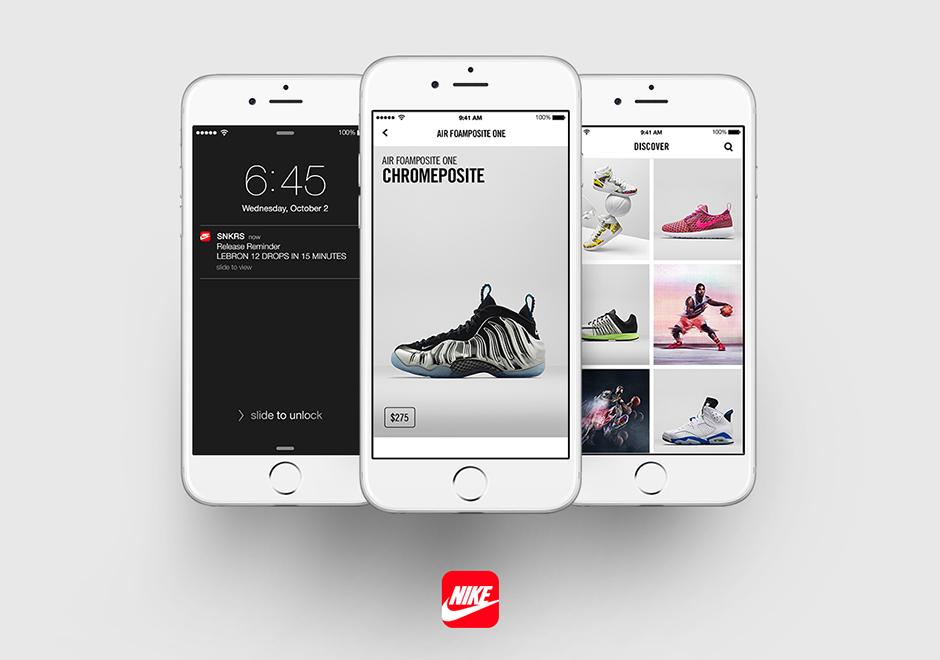 L'immagine mostra l'interfaccia dell'App per il reselling di Nike chiamata Sneakrs. Da un lato vediamo il remainder che segnala l'uscita di un nuovo paio di scarpe, dall'altro vediamo la vetrina dello shop online e la scheda prodotto della sneakers. Fonte: SNEAKRS