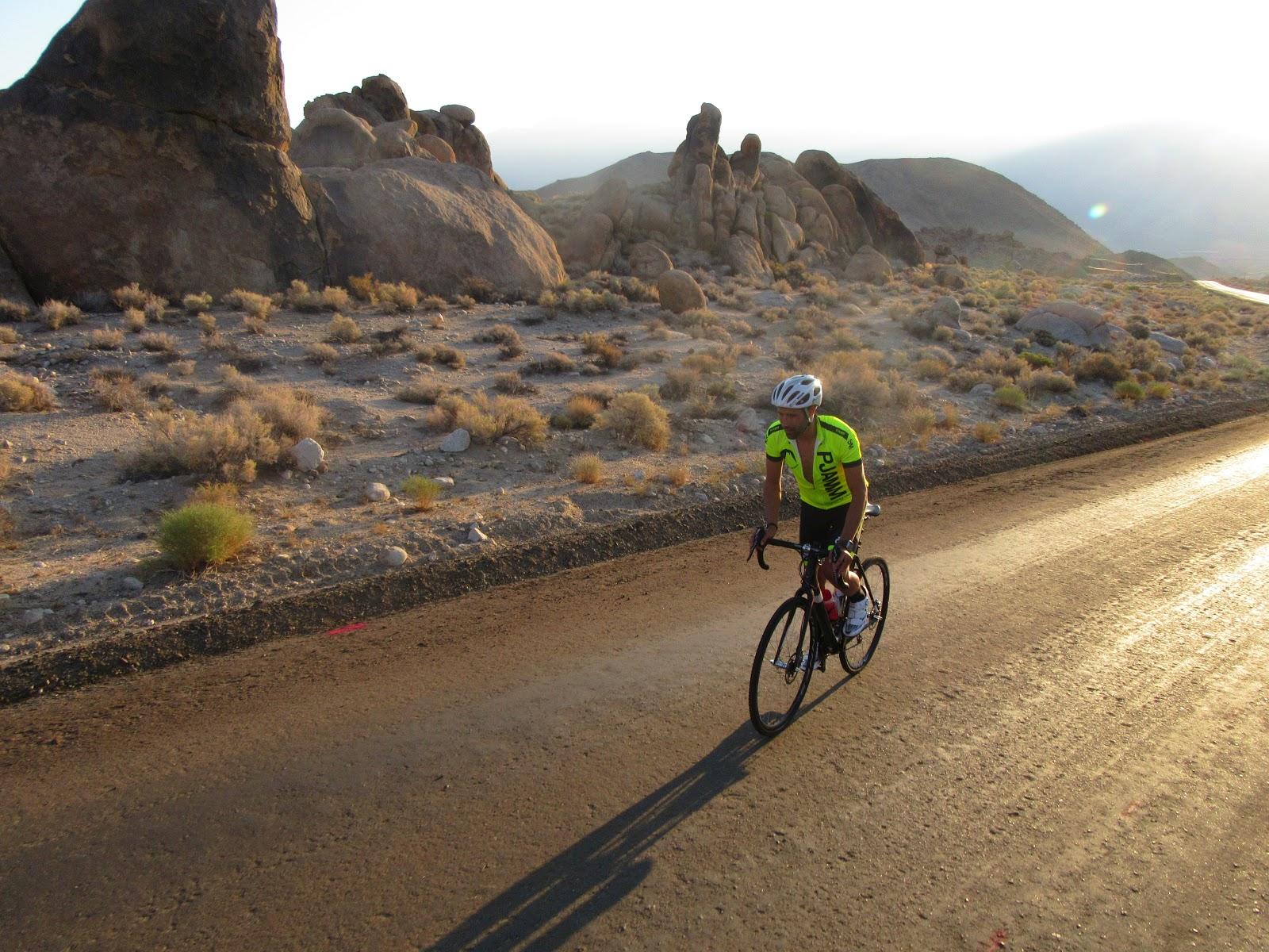 Tayler Hocket riding his bike up Whitney Portal Road