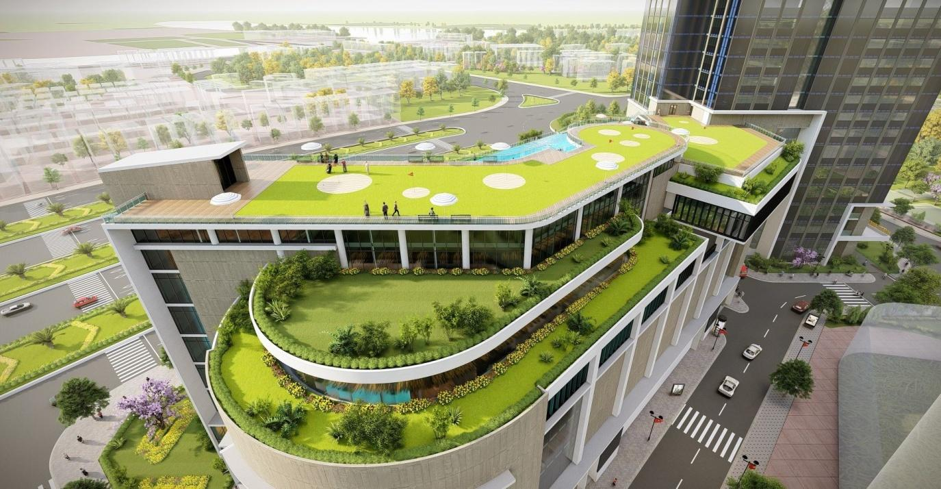 Tòa nhà thương mại nằm trong tổng thể dự án chung cư Eco Green Sài Gòn