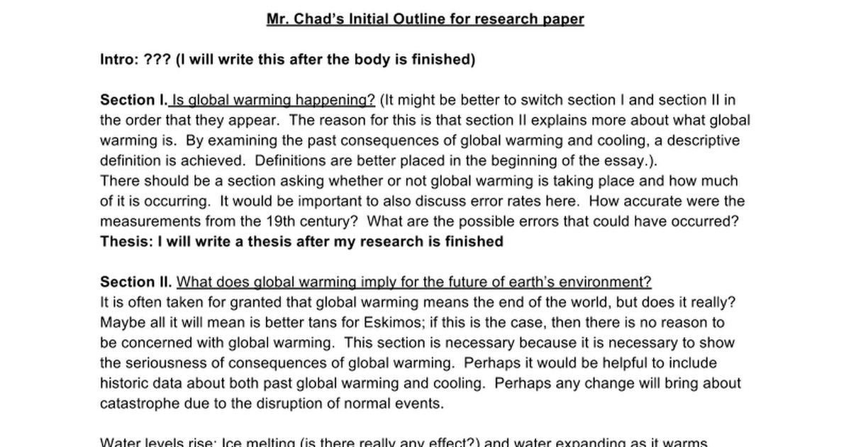outlines for global warming research papers