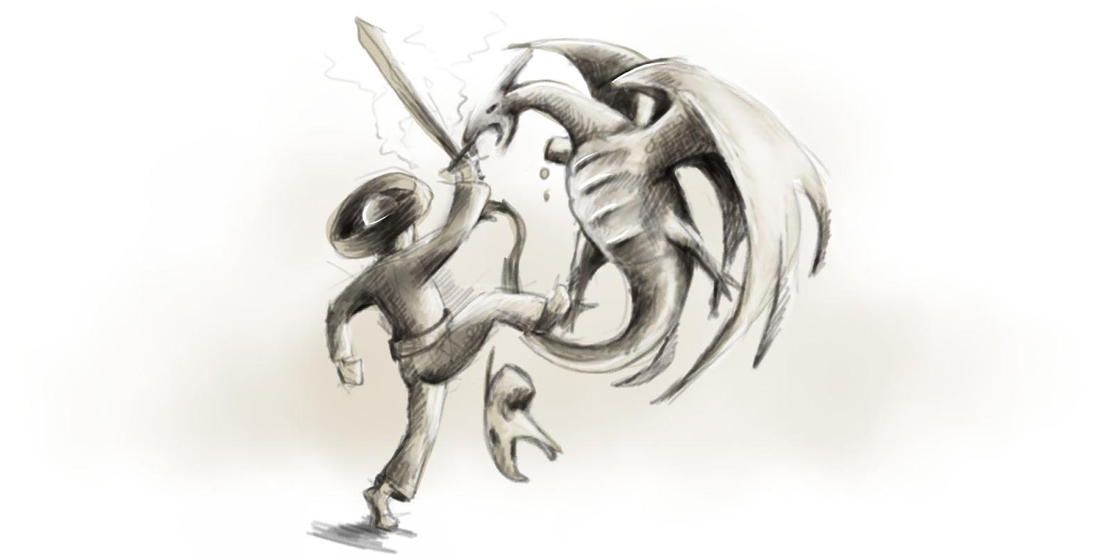 Hrdina bojuje s drakom.
