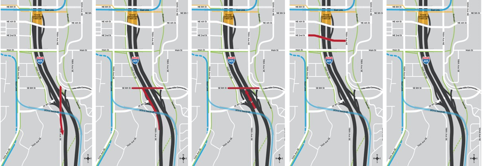 Five alternatives, including a no-build option, for the South Downtown interchange. Note that all, except the no-build option, would interfere with Sound Transit's future Issaquah light rail.